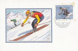 D31713 CARTE MAXIMUM CARD 1955 LIECHTENSTEIN - SKIING DOWNHILL RACING CP ORIGINAL - Skiing