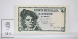 Spain/ España 5 Pesetas/ Ptas Spanish Banknote, Francisco Franco - Issued 1948, E Series - AU Quality - 5 Pesetas