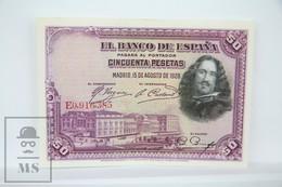 Spain/ España 50 Pesetas/ Ptas Spanish Banknote - Issued 1928 - VF Quality - [ 1] …-1931 : Primeros Billetes (Banco De España)