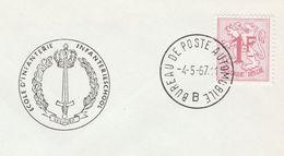 1967 BELGIUM COVER EVENT Pmk INFANTRY SCHOOL AUTOMOBILE POST Military Forces Stamps - Belgium