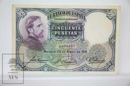 Spain/ España 50 Pesetas/ Ptas Spanish Banknote - Issued 1931 - F Quality - [ 2] 1931-1936 : República