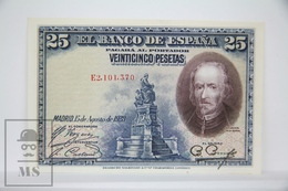 Spain/ España 25 Pesetas/ Ptas Spanish Banknote - Issued 1928, E Series - UNC Quality - [ 1] …-1931 : Primeros Billetes (Banco De España)