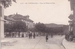 74 ANNEMASSE  CAFE De La PLACE Animé  SOLDATS CHASSEURS ALPINS Devant L' HOTEL De VILLE Timbre 1918 - Annemasse
