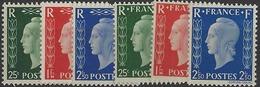 France XXème Siècle  N° 701 A à F Série Non émise De Londres 6 Valeurs Qualité: ** Cote: 960 € - 1944-45 Marianne De Dulac