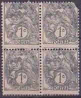 France Variétés N° 107 1c Blanc Gris Bloc De 4 Piquage à Cheval (1ex Def) Qualité: ** - 1900-29 Blanc