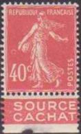 France Variétés N° 194 40c Semeuse Vermillon Anneau Lune Avec Bande Pub Qualité: ** - 1906-38 Semeuse Camée