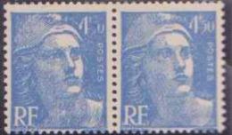 """France Variétés N° 718 A 4f50 M.de Gandon Bleu Sans """"""""F"""""""" X 3ex Dans Bloc De 8 Qualité: ** - 1945-54 Marianne De Gandon"""