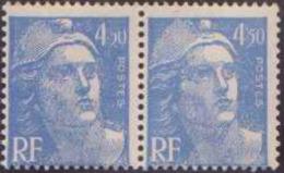 """France Variétés N° 718 A 4f50 M.de Gandon Bleu Sans """"""""F"""""""" Tenant à Normal Qualité: ** - 1945-54 Marianne De Gandon"""