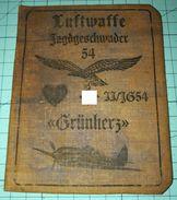 WW2 German, Nazi, Luftwaffe Jagdegeschwader 54 Grunherz  ID, Document Auswies, Not Original (?) - 1939-45