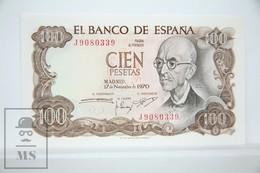 Spain/ España 100 Pesetas/ Ptas Spanish Banknote - Issued 1970 - UNC Quality - [ 3] 1936-1975 : Régimen De Franco