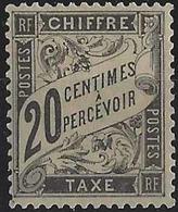 France Taxes N° 17 20c Noir Qualité: ** Cote: 500 € - 1859-1955 Neufs