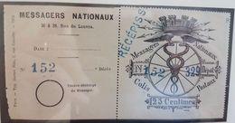 France Colis Postaux De Paris Pour Paris N° 1 25c Noir Compagnie Des Messagers Récépissé + Talon Qualité: (*) Cote: 265 - Colis Postaux