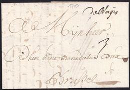 "1710. BRUGES TO BRUSELS. MANUSCRIPT ""DE BRUGES"". RARE COVER FROM FRENCH PERIOD. - Otros"