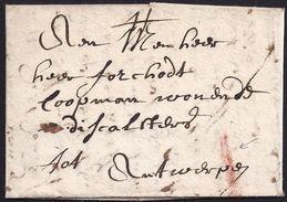 "1708. MECHELEN TO ANTWERP. RATE ""I"" IN RED INK. - Bélgica"
