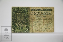 Spain/ España - Catalonia, Barcelona 50 Cents/ Centimos Civil War Period Banknote - Issued 1937 - G Quality - España