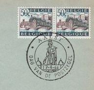 1966  BELGIUM COVER EVENT Pmk AALST STAMP DAY 2x 50c HUY BRIDGE Stamps - Belgium