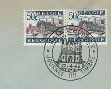 1966  BELGIUM COVER EVENT Pmk BASSILICA SAINT HUBERT,  STAMP DAY 2x 50c HUY BRIDGE Stamps Church Religion Christianity - Churches & Cathedrals