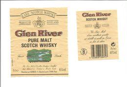 """Etiquette De WHISKY ECOSSAIS """" GLEN RIVER - Pure Malt """" - Whisky"""