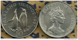 FALKLAND ISLANDS 50 PENCE KING PENGUINS BIRD  FRONT QEII HEAD BACK 1987 UNC KM25 READ DESCRIPTION CAREFULLY !!! - Falkland
