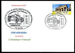 82956) BRD - Karte - SoST 15306 VIERLINDEN Vom 26.08.2017 - 5. Dampfpflügen In Friedersdorf, Ackerbau - [7] West-Duitsland