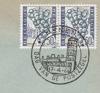1966  BELGIUM COVER EVENT Pmk MENEN TOWN HALL,  STAMP DAY   ,2x 50c Grapes Stamps Fruit - Belgium