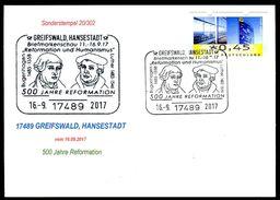 82977) BRD - Karte - SoST 17489 GREIFSWALD, HANSESTADT Vom 16.09.2017 - 500 Jahre Reformation, Martin Luther - Machine Stamps (ATM)