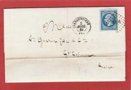 Ardèche - Largentiere - PC1654 Sur N°14 - LSC  De 1862 - Marcophilie (Lettres)