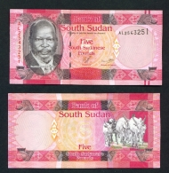 SOUTH SUDAN  -  2011  5 Pounds  Native Cattle  UNC - Soudan Du Sud