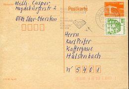 26060 Germany Ddr Special Postmark 1980 Idar, Edelsteine, Diamant Diamond, Circuled Card - Minerali