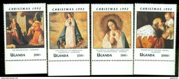 UGANDA SCOTT MINT N H # 1089-91;95  ( CHRISTMAS  1992 - Uganda (1962-...)