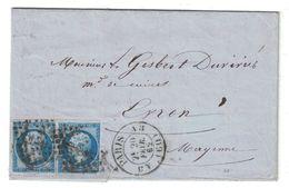 1862 - CACHET QUARTIER De PARIS (BUREAU A3) LETTRE LAC AFFRANCHI NAPOLEON N°14 OBLITERATION LOSANGE AS3 DOUBLE PORT - Marcophilie (Lettres)