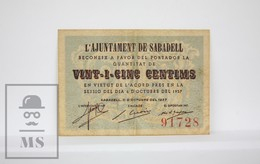 Spain/ España - Catalonia, Barcelona - Sabadell 25 Cents/ Centimos Civil War Period Banknote - Issued 1937 - VF Quality - Espagne