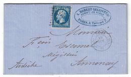 1860 - CACHET QUARTIER De PARIS (CAD BUREAU CS2) LETTRE LAC AFFRANCHI NAPOLEON N°14 OBLITERATION LOSANGE CS2 - 1849-1876: Période Classique