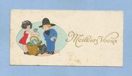 Carte De Meilleurs Voeux Signée Maryse Marchande De Primeurs Fleurs Chapeau Breton Enfants 2 Scans (chou-fleur ?) - Altre Illustrazioni