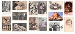 Lot De 90 CPA Fantaisies 1900s 1950s : Femmes Enfants Couples Illustrations Fleurs Etc - Fantaisies