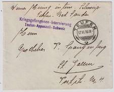 """Schweiz, 1916, Internierten-Stp. """" Teufen """"    , #8746 - Poststempel"""