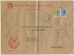 1963 SIRACUSANA L. 50+60 BUSTA 8.11.63 TARIFFA LETTERA 5° PORTO  TIMBRO ARRIVO E OTTIMA QUALITÀ (8184) - 1961-70: Storia Postale