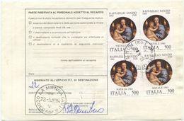1983 RAFFAELLO L. 500x4 BOLLETTINO PACCHI 15.5.84 (8186) - 6. 1946-.. Repubblica