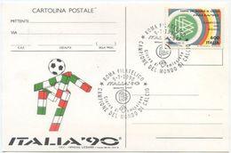 1990 CALCIO ITALIA CAMPIONE L. 600 SPLENDIDA CARTOLINA UFFICIALE ANNULLO SPECIALE FIGURATO  (8189) - F.D.C.