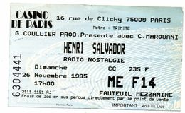 Billet Concert Henri Salvador Casino De Paris 1995 - Biglietti D'ingresso