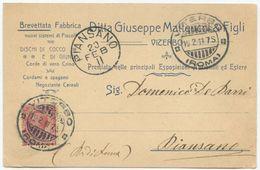1911 CARTOLINA PUBLICITÀ DITTA CORDE SPAGLI MATTEUCCI  VITERBO C. 10 A PIANSANO 19.2.11 OTTIMA QUALITÀ (8181) - 6. 1946-.. Repubblica