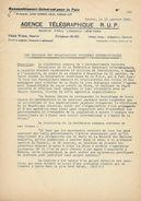 Dépêche Télégraphique Agence R.U.P. 1938 - Boycott Agression Du JAPON CHINE - Signataires Pour La Paix - Historische Dokumente
