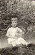 Child W/ Their Teddy Bear Sitting In Grass C1910 Real Photo Postcard Rpx - Fotografie