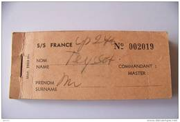 Carnet De 20 Tickets D'embarquement Et Débarquement Du S/S FRANCE - Manque 3 Tickets - Transportation Tickets