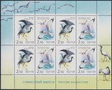 Russia 2002 Kazakhstan Joint Issues Birds Crane Cranes Gull Bird Animal Fauna M/S Stamps MNH Mi 1008-1009 Sc 6709 - Cranes And Other Gruiformes