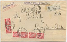 1936 IMPERIALE C. 20x6 PIEGO DA ROSSANO FRAZIONARIO  20.4.36 RACCOM.  A.R. MULTIPLO OTTIMA QUALITÀ (8174) - Storia Postale