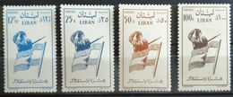 E11l2 Lebanon 1958 Mi.624-627 Set Independence, Soldier, Flag, 4. - MLH - Lebanon