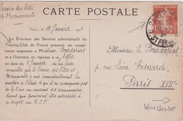 FRANCE 1923 CARTE POSTALE DE PARIS TOURING CLUB DE FRANCE AVEC TIMBRE PERFORE - France