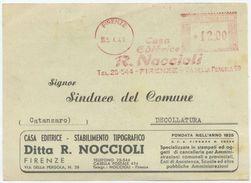 CARTOLINA PUBBLICITÀ FIRENZE EDIZIONI NOCCIOLI AFFRANCATURA MECCANICA ROSSA L. 12 OTTIMA QUALITÀ (A969) - 6. 1946-.. Repubblica