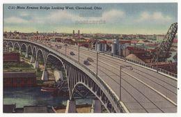 Cleveland Ohio OH, Main Avenue Bridge Looking West 1940s Vintage Postcard M8538 - Cleveland